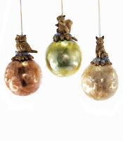 22-622085 Katherine's Collection Frosted Shiney Glass Ornament Woodland Friends