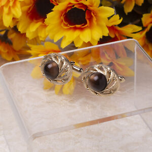 Vintage Brown Moonstone Cabochon Swirled Brushed Gold Tone Cuff Links