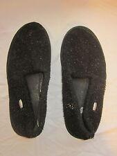 Acorn Men's Size 10-1/2 to 11-1/2 Black Fuzzy Slippers
