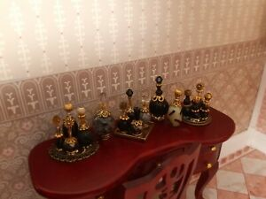 BLACK & GOLD PERFUME Bottles Vanity Tray Set Bedroom Dollhouse miniature 1/12 **