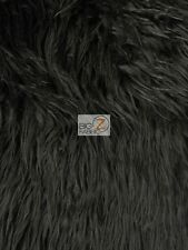 "FAUX FAKE FUR SOLID MONGOLIAN LONG PILE FABRIC - Black - 60"" SOLD BY THE YARD"