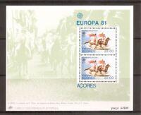 Portugal Azores SC # 322a St Peter's Calvacade, EUROPA'81 . Souvenir Sheet. MNH