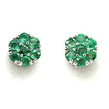 Emerald 9 Carat Cluster White Gold Fine Earrings