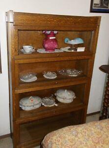 Gunn Antique  Four Stack Oak Barrister Bookcase