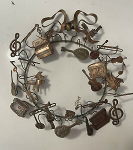 "Vintage DRESDEN Musical Brass Wreath 32 Items 11"""