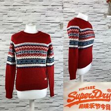SUPERDRY Ladies Vintage Nordic Knit Red Sweater Jumper Size XS Hygge