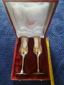 Vintage Silver Plated Champagne Glasses Set of 2 Royal Perfection + Original Box