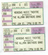 allman brothers 2 ticket stubs  june 21, 1996  meadows music theatre