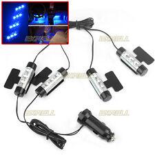 Set 4 Luci Lampadine 3 LED Blu + Accendisigari per Illuminazione Interna Auto