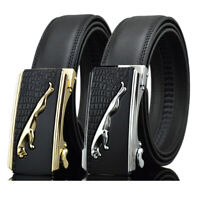 Fashion Men's Jaguar Automatic Buckle Belt Cow Leather Belt Ratchet Strap Gift