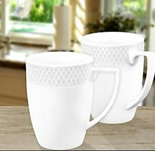Wilmax 12 oz. Julia Collection White Porcelain Classic Mugs, Gift Box Set of 2