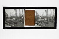 Port Da Croisic Francia Placca Stereo Positive Vintage Settembre 1912