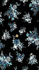 Viscose Lycra jersey fabric Material - Black with Blue & Turquoise Floral print
