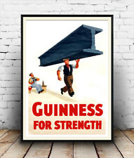 Guinness for Strength 2 : Vintage beer advert, Wall art , poster, Reproduction.