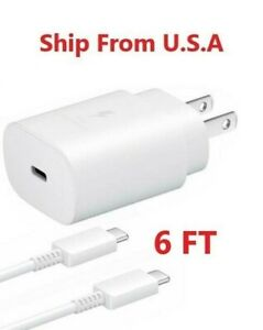 25w Type USB-C Super Fast Wall Charger +6FT Type C Cable For Samsung Galaxy S21