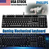 Philips USB Wired Gaming Mechanical Keyboard LED Backlit For PC Laptop Computer