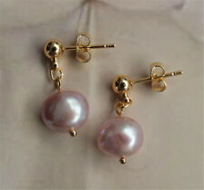 Green rust REAL torus DIY 9-10MM HUGE baroque pearl earrings 18K 2018 AAA