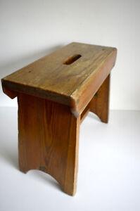 Vintage Rustic Handmade - Wooden Stool Step footstool milking stool