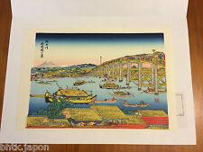 Xylographie Estampe Ukiyoe - HIROSHIGE Eté à Ryogoku - Presse à bois artisanale