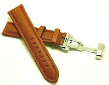 20mm Brown Quality Leather Men's Watch Band with Push Button Deployant Clasp