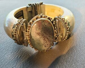 """STATEMENT! 1940s Handcrafted """"BONE"""" Bangle Cuff Gray Agate Stone Indian Unisex"""