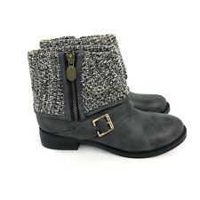 NEW Dr Scholl's Bobbin Womens Gray Faux Leather Ankle Cuff Bootie Size 6.5