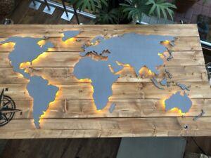 Weltkarte Holz Led Deko