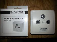 MAXIMUM Antennendose TV + Radio + Sat Aufputz oder Unterputz weiß