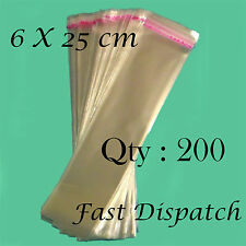 200 of 6 X 25 cm Clear Cello Cellophane Bags Display Self Adhesive Peel & Seal