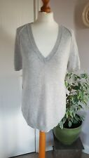 The White Company Size M Grey Wool & Cashmere Short Sleeved V Neck Jumper