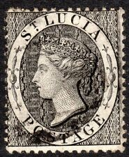 St Lucia 1864 black 1d crown CC perf 14 used SG15