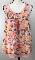 Daniel Rainn Blouse Women's Size Floral Print Sleeveless Scoop Neck Layered Top