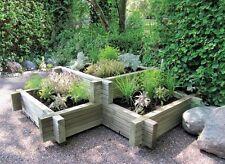 Raised Corner Planter 2 Tier Flower Bed Garden Patio 3 Plant Areas Veg Flowers
