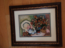 Wall plaque with matting and cherrywood frame bowl of flowers chair, & basket
