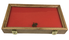Oak Wood Display Case  9 1/4  x 15 3/4  x 2 for Arrowheads Knifes Coins & More