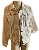 Carhartt Detroit Women's White Jean Denim Jacket Size 4/6 Small