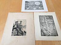 Three Vintage Signed Engravings