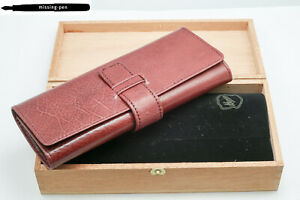 Governor Leather Etui / Case for 3 Pens in Brown with wood box