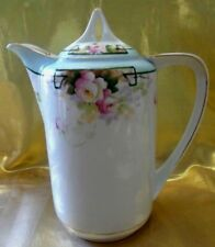 ANTIQUE NIPPON  CHOCOLATE POT COFFEE POT HAND PAINTED  ROSES & GOLD TRIM  1911
