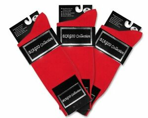 3 Pair of Biagio Solid RED Color Mens COTTON Dress SOCKS