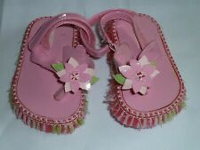 VINTAGE GYMBOREE BABY INFANT GIRL PINK GREEN STRAW FLOWER SANDALS SHOES HULA 1 2
