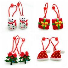 10Pcs Merry Christmas Hair Elastic Bands Red Bow Animals Headband Ropes Girls