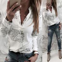 Womens Letter Print Long Sleeve Shirt Loose Blouse Tunic Tops V-Neck White 3XL