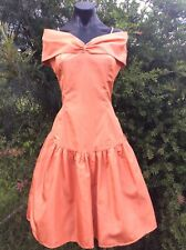 Vintage 80s Formal Dress 8 Apricot Peach Orange Taffeta Cocktail Retro Costume