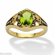 WOMENS ANTIQUED 14K GOLD BIRTHSTONE AUGUST PERIDOT RING  5 6 7 8 9 10
