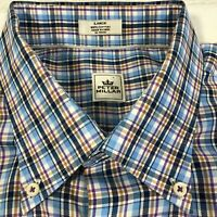 Peter Millar Mens Tattersall Button Down Dress Shirt Size L Multi-Color Plaid