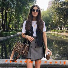 NWT Zara Grey Houndstooth Printed Wrap Mini Skirt With Black Lace Trims Size M