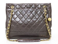 rk5113 Auth CHANEL Brown Quilted Lambskin CC Charm Chain Shoulder Tote Bag