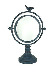 Zeckos Vintage Blue Metal Round Swiveling Table Mirror with Bird Accent