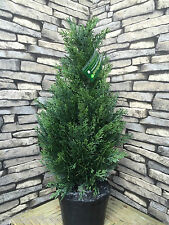 2 Best Artificial 2ft 60cm Cedar Conifer Topiary Trees garden plant